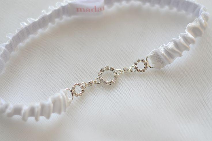Crystal garter, ivory wedding garter with crystal, rhinestone garter, bridal garter, toss garter, wedding garter belt