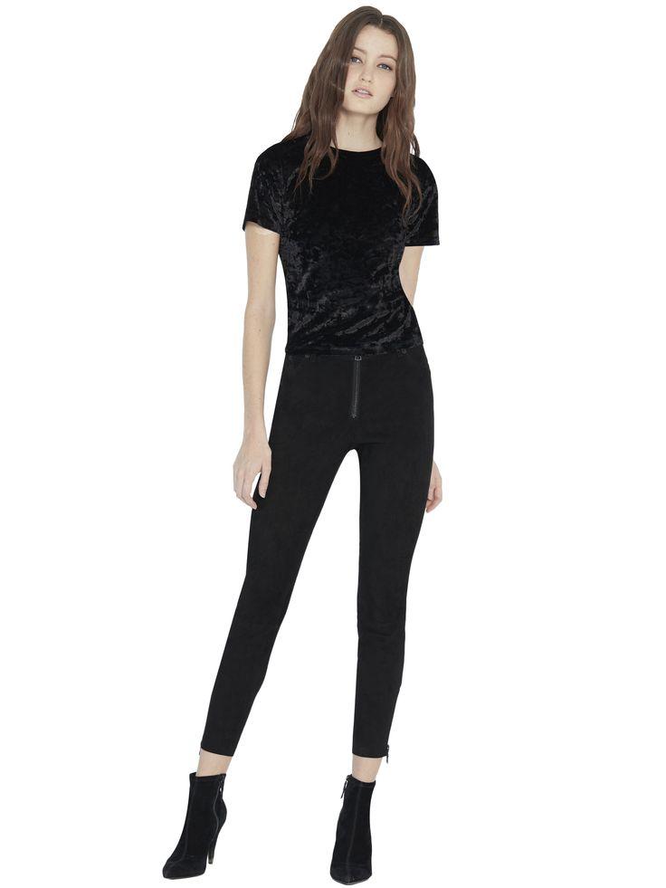 ALICE AND OLIVIA BLACK LOMI SUEDE CROPPED PANT. #aliceandolivia #cloth #