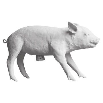 Bank In Form Of A Pig White, will be available in Tinga Tango shop, sparegris i naturlig pattegris størrelse