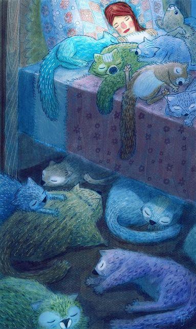 juanbjuan children illustration: pătură de pisici