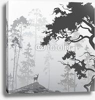 Постер Олень в лесу