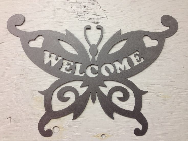 Butterfly Welcome2, metal signs, butterfly, yard art, garden