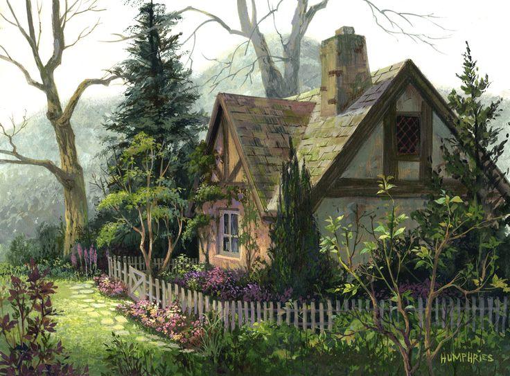 143 Best Watercolor Cottage Images On Pinterest Oil