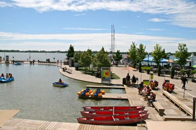 Toronto Fun Places: Cottage life at Harbourfront Centre with paddleboat and Muskoka chairs