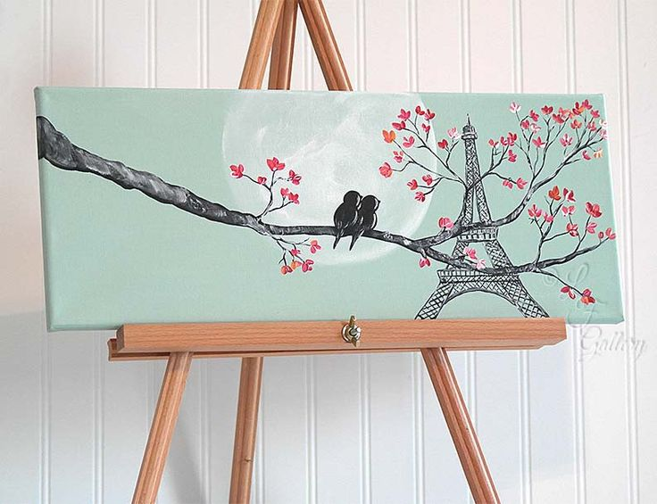 Original Canvas Painting Love Bird Painting Mint and Coral Wedding Gift for Couple Love Birds Art Paris Painting Eiffel Tower Art Painting by LindaFehlenGallery on Etsy