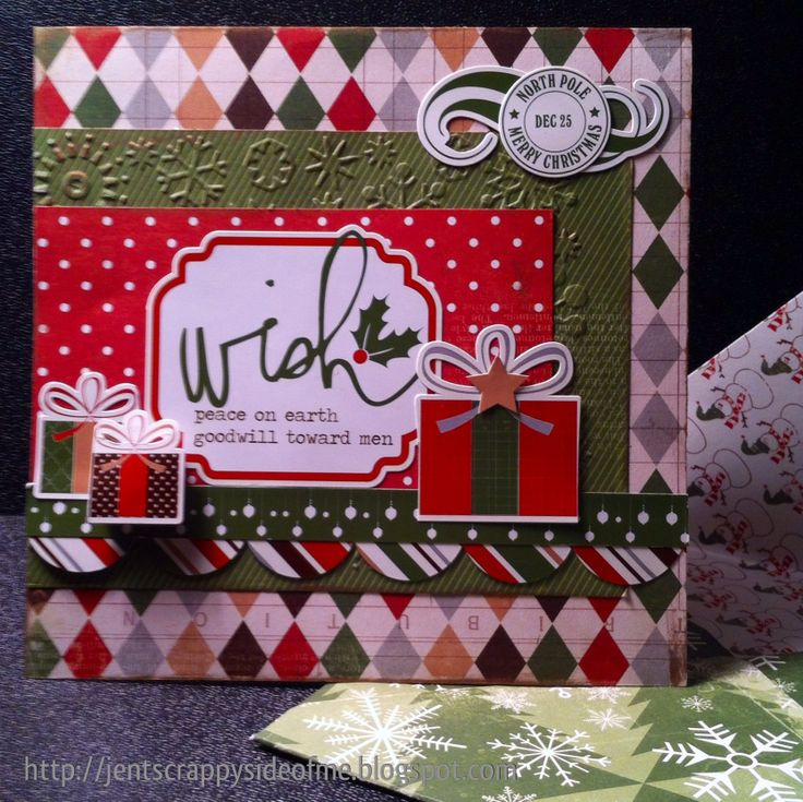 card i made using the fabulous @housecallsbyscrappinmadge  december kit called mistletoe kisses #echoparkpaper #stickers #envelope # 6x6card #christmas  #mistletoekisses #december2013kit #housecallsbyscrappinmadge