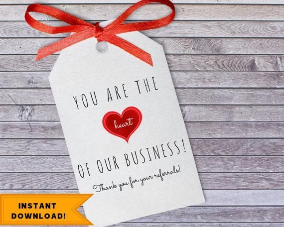 Printable Business Referral Thank You Tag Download Client Business Heart Tag Our Business Valentine Customer Appreciation Download Client Appreciation Gifts Client Gifts Valentine Tags