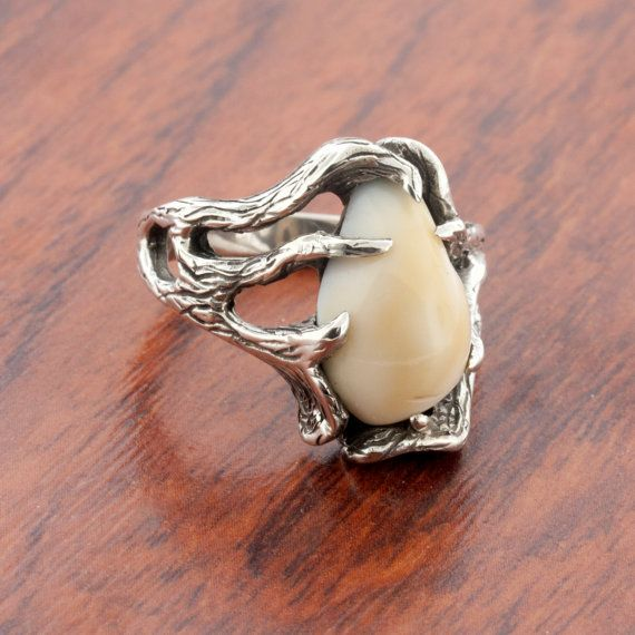 Men's Elk Ivory/Tooth Ring MOUNTING ONLY in by ParkCityJewelry