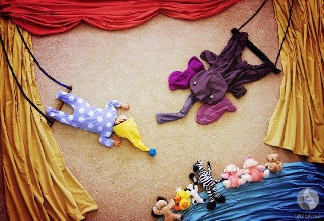 photo bebe mise en scene le trapeziste
