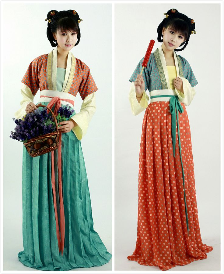 Chinese hanfu collection in Tang dynasty style, both half and whole length, by 锦瑟衣庄. This type is ruqun(襦裙).