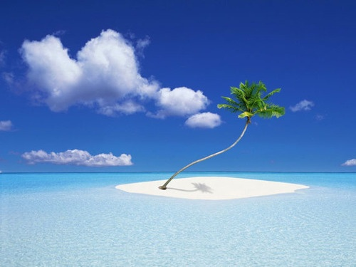 #3. Nature/Life:  I like this picture because it's simple. One island and one palm tree. I also like the color and contrast of the different blue colors, and the white of the sand and clouds.