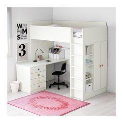 Luxury  B den Dieses Hochbett wird zur Komplettl sung f rs Kinderzimmer mit Schreibtisch Regal und Kleiderschrank Der Schreibtisch kann parallel oder
