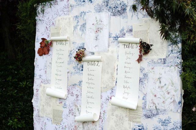 Каллиграфия на свадьбе, план рассадки гостей