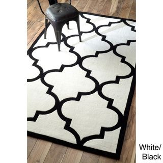 nuloom handmade luna moroccan trellis rug x white black size x polyester abstract