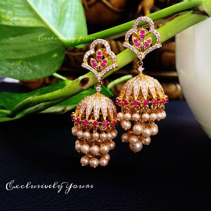 Beautiful pearl step jhumki  To order @ EY - WhatsApp: 999-444-0659