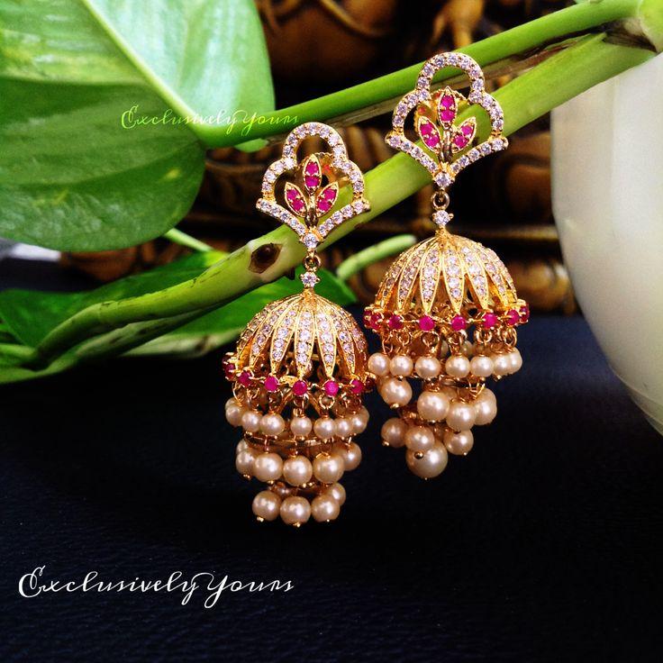 Beautiful pearl step jhumki  To order @ EY - WhatsApp: 999-444-0659