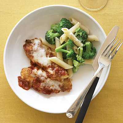 Broiled chicken parm and broccoli-packed pasta are faster than delivery (and better for you). Recipe: Chicken Tenders Parmesan with Penne and Broccoli   - Delish.com