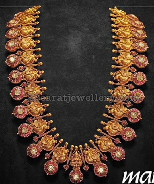 a58ed748e84d5 Parrot Ruby Floral Long Set by Mangatrai | South Indian Jewels ...