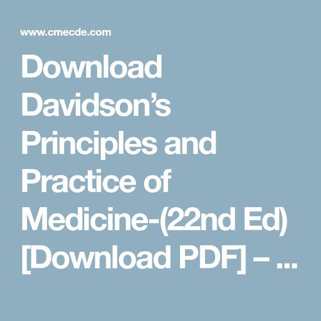 Download Davidson's Principles and Practice of Medicine-(22nd Ed) [Download PDF] – CME & CDE