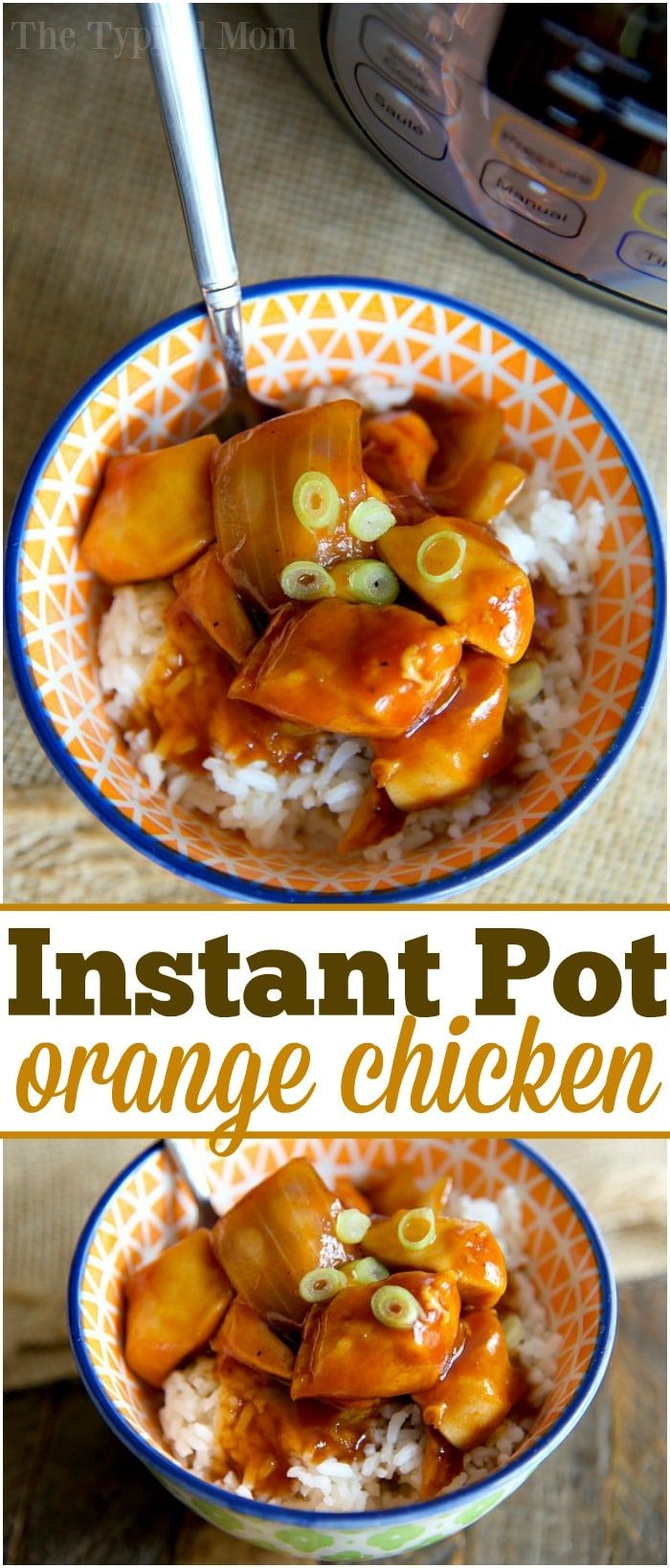 The best Instant Pot orange chicken recipe I've found so far! Super easy to make in less than 10 minutes and a healthy pressure cooker recipe too. via @thetypicalmom