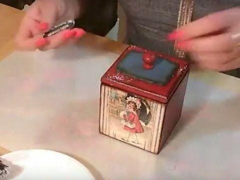Леля Раевская  Новогодний короб для игрушек  Одношаговый кракелюр