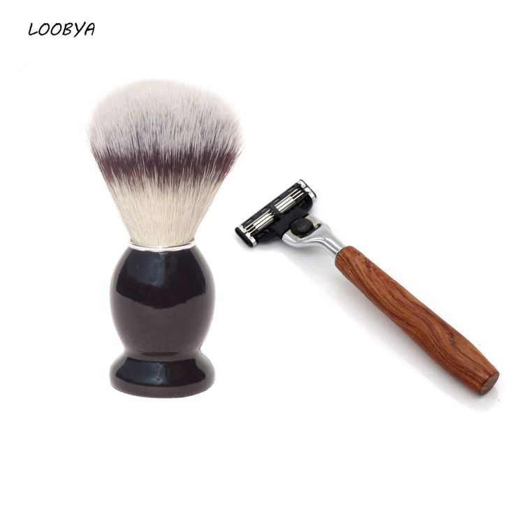 2pc/set Wood Handle Shaving Brush Straight Beard Razor #Affiliate