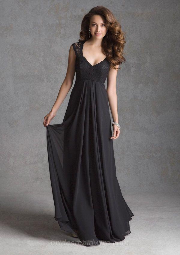 Classic Black Cap Sleeve Lace Bodice Floor Length A Line Bridesmaid