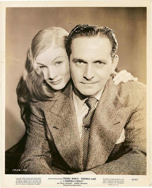"""Veronica Lake and Fredric March in """"I Married A Witch"""".  Don't know about you but seems obvious to me they were not fond of each other."""