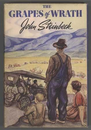 The Grapes of Wrath by John Steinbeck. New York: The Viking Press, 1939.  First edition, first impression. A fine copy in fine dust jacket with two 10 mm closed tears at top edge of spine panel (at center and at front fold) and faint associated wrinkle. A beautiful copy in a very sharp example of the jacket. A common book, but not in this condition.