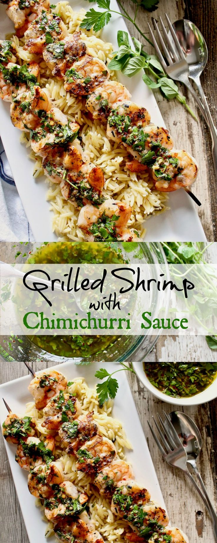 Shrimp, brined and grilled, with Chimichurri Sauce ~ a grilling season favorite.
