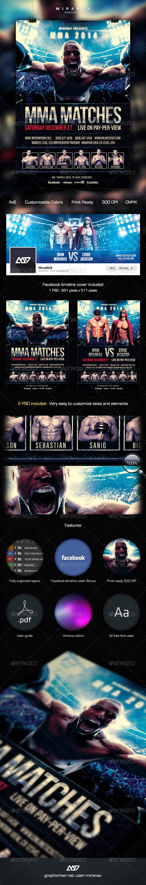 MMA / UFC / Boxing Fight Flyer Template  #wwe #raw #blood match • Click here to download ! http://graphicriver.net/item/mma-ufc-boxing-fight-flyer-template/6002393?ref=pxcr