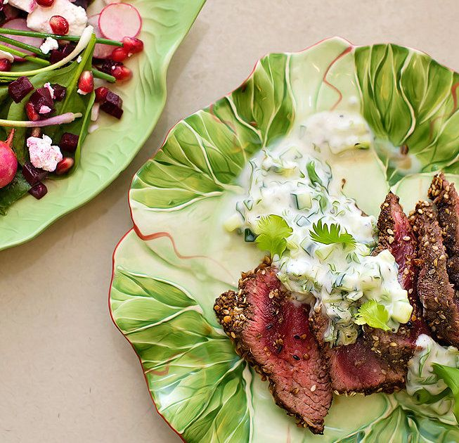 Grilled Ostrich Fillet with Egyptian Dukkah and Cucumber Raita recipe