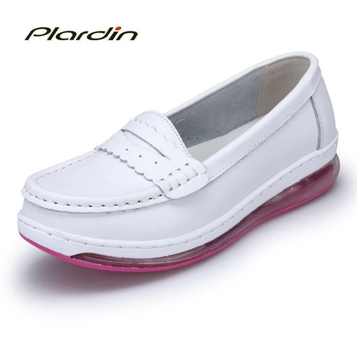 plardin 2017 Four Seasons Woman Pure white Nurse shoes women Platform soft Full sole air cushion shoes casual genuine shoes #Affiliate