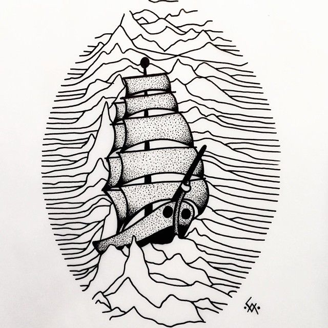 Yup.. I've been listening to joy division again... Available to tattoo .... #tattoo #tattooflash #joydivision #unknownplesures #traditionaltattoo #ship #010 #stayclassy