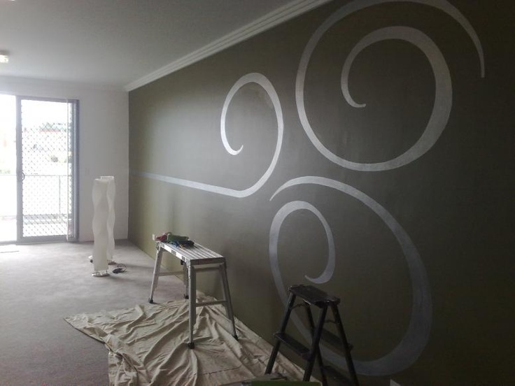 Same color paint - flat & gloss. I have seen this with stripes before and never even though to do it with anything else!