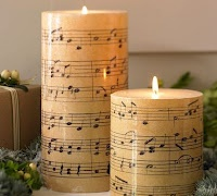 PB Knock Off Candles - *Now* I know *exactly* how to use those free printables of Christmas sheet music! :)