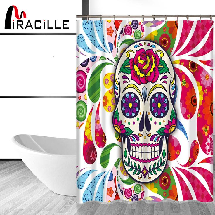 Miracille Modens Sugar Skull Printed Bath Curtain Home Decorative Shower Curtains Bathroom Accessories with 12 Plastic Hooks  #Affiliate
