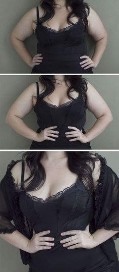 Ever wonder why models often do the pose in the middle and the pose in the bottom photo? It's a waist-slimming trick.