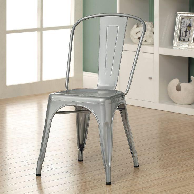 Monarch Specialties Silver Galvanized Caf Chair