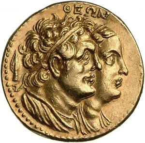 Octodracma - oro - Alessandria, Egitto (260-240 a.C.) -  ΘEΩN busti drappeggiati e diademati di Tolomeo I Soter e Berenice I - Münzkabinett Berlin