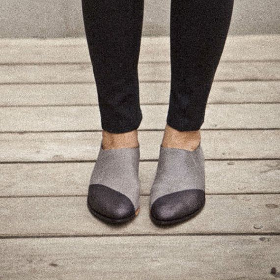 Sale-30% OFF Two tone shoes-Grey flat pointy shoes colored black in the front. Designer shoes, comfortable walking shoes. Women shoes on Etsy, $260.00