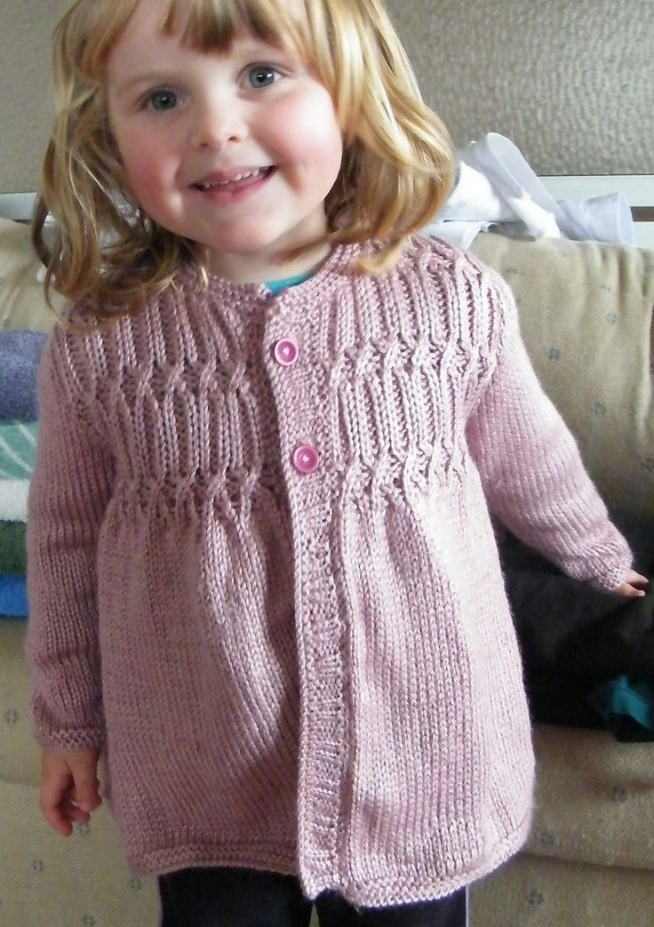Free Knitting Pattern for Strawberry Hill Cardigan - Cardigan sweater in toddler and child sizes features a smocked yoke. Toddler's 2 (3–4, 5–6). Designed by Melissa Matthay Pictured project by RAELNE #toddlerknittingpatterns
