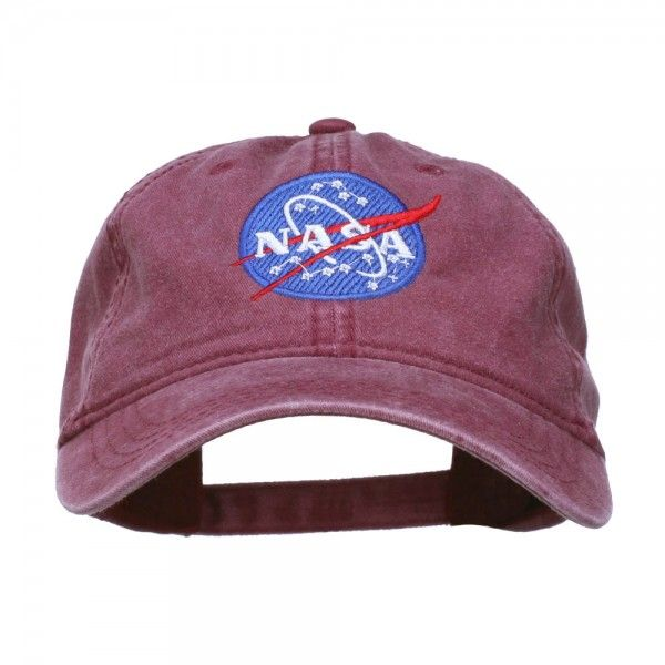 Embroidered Cap - Maroon NASA Insignia Embroidered Dyed Cap // e4Hats