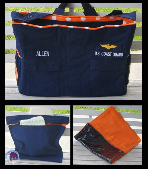 Coast Guard Diaper Bag. Something to do with old uniforms