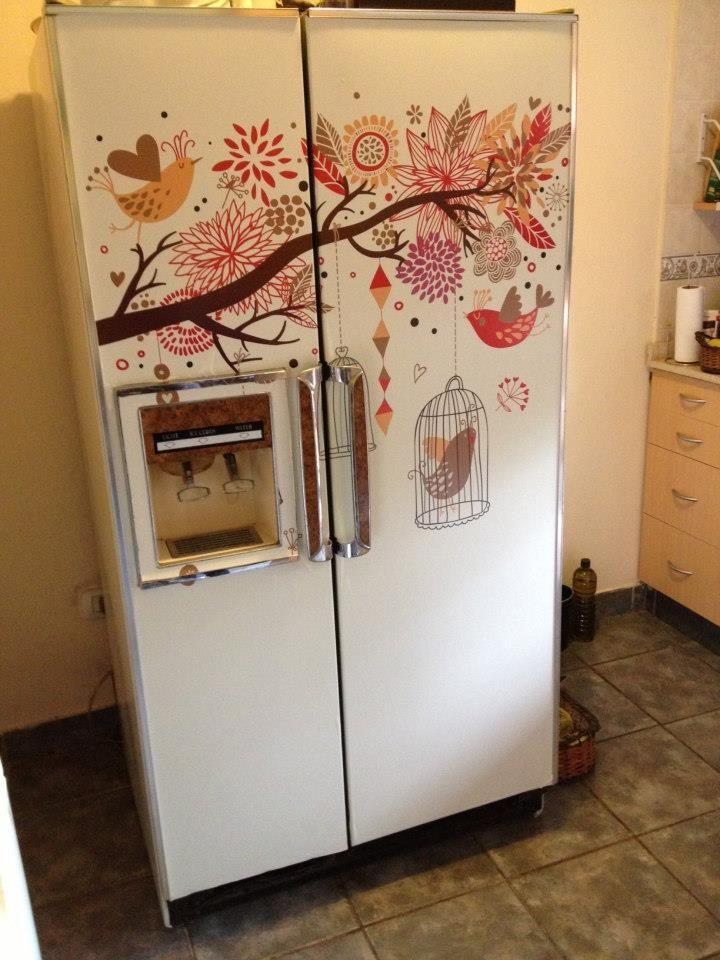 Heladera decorada con vinilo www bonitacasa com ar for Cocina y refrigerador juntos
