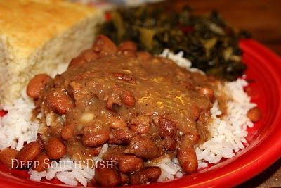 Pinto Beans and Rice - slow cooked with ham, onion, celery and jalapenos, served over rice with a side of collard greens and hoecakes.