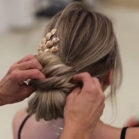 Beautiful updo hairstyle for long blond hair and side accessory. Watch the tutorial and try it out. Browse the link for more wedding hair bun ideas. // mysweetengagement.com  // #wedding #weddingday #weddinghairstyles #weddinghair #weddinghairstylesupdo #bridalbeauty #bridalhair #bride #bridalhairstyle #bridalupdo #romantichairstyles #messybun #chignon #hairtutorial #hairvideo