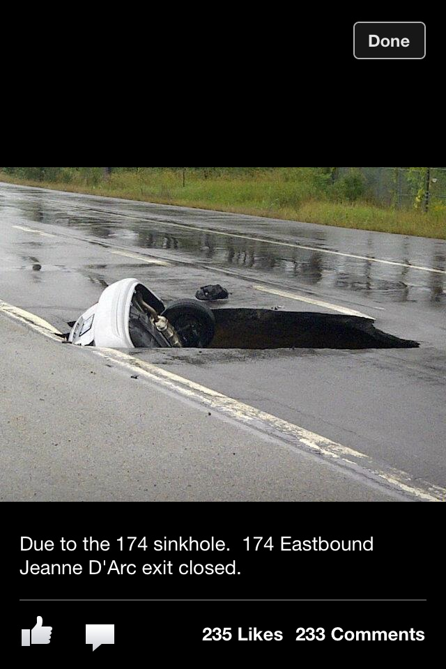 Ottawa Ontario sinkhole! The driver lived thankfully