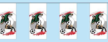 Voetballers slinger rechthoekig 4 meter. Lange slinger met rechthoekige vlaggetjes. Op de slinger staan voetballers in actie afgebeeld. De voetballer slinger is ongeveer 4 meter lang en is brandvertragend.