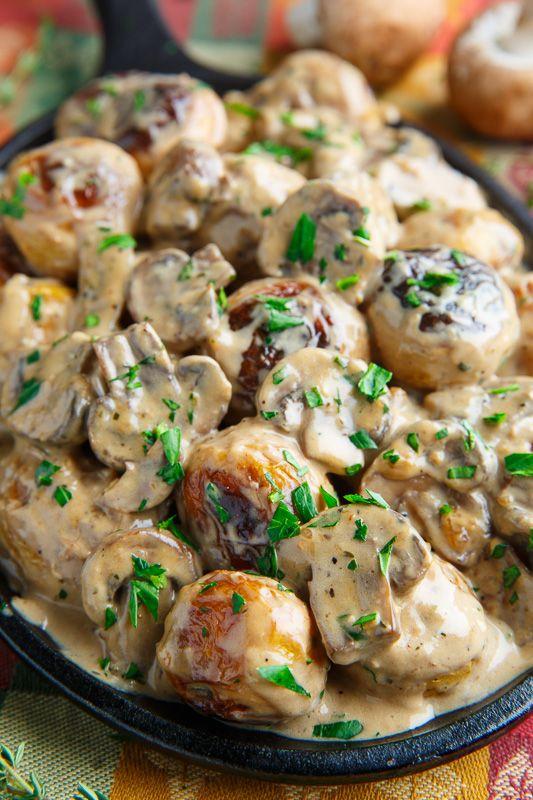 Roasted Potatoes in Creamy Mushroom and Miso Sauce